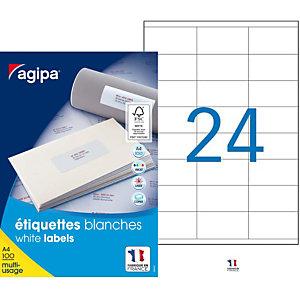 AGIPA Étiquettes adhésives blanches multi-usages, 70  x 36 mm -  2400 étiquettes par boîte, 24 étiquettes par feuille