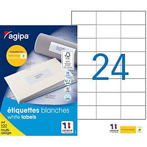 AGIPA Étiquettes adhésives blanches multi-usages, 70 X 37 mm - 2400 étiquettes par boîte, 24 étiquettes par feuille