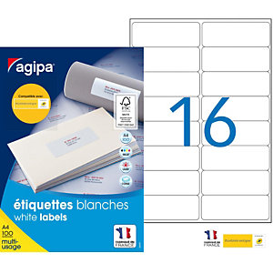AGIPA Étiquettes adhésives blanches multi-usages, 99,1  x 33,9 mm -  1600 étiquettes par boîte,  16 étiquettes par feuille