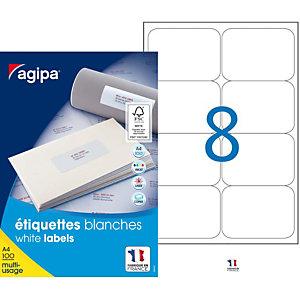 AGIPA Étiquettes adhésives blanches multi-usages, 99,1  x 67,7 mm -  800 étiquettes par boîte, 8 étiquettes par feuille