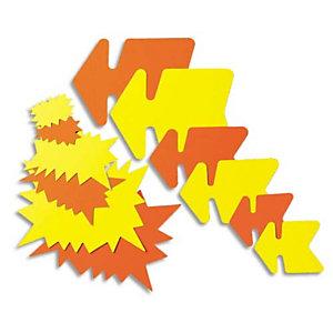 AGIPA Paquet de 50 étiquettes pour point de vente en carton fluo Jaune/Orange forme éclaté 8 x 12 cm