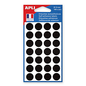 AGIPA Pastilles adhésives de couleur, Ø 15 mm - Pochette de 168, coloris noir