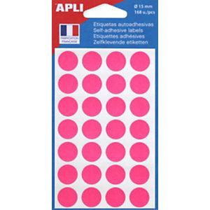 AGIPA Pastilles adhésives de couleur, Ø 15 mm - Pochette de 168, coloris rose