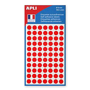 AGIPA Pastilles adhésives de couleur Ø 8 mm - Pochette de 462, coloris rouge