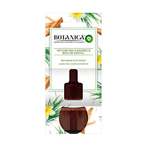 Air Wick Recharge pour diffuseur électrique Botanica parfum Vétiver des Caraïbes et Bois de Santal - Flacon 19ml