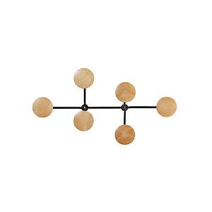 Alba Appendiabiti da parete, 6 posti, Nero/legno