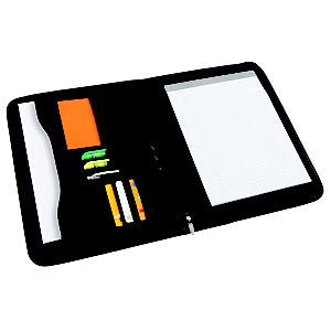 Alba Conférencier porte-bloc A4 ZIPPER, avec pochette soufflet à fermeture éclair - Noir
