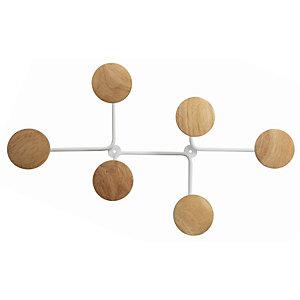 Alba Design Perchero de pared de acero y madera de 6 colgadores, blanco y marrón