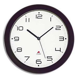 ALBA Horloge murale Hornew silencieuse Noire, pile AA non fournie - Diamètre 30 cm