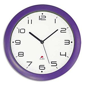 ALBA Horloge murale Hornew silencieuse Prune, pile AA non fournie - Diamètre 30 cm
