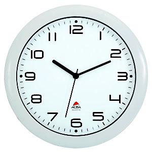 Alba Hornew Reloj analógico de pared, blanco con fondo blanco