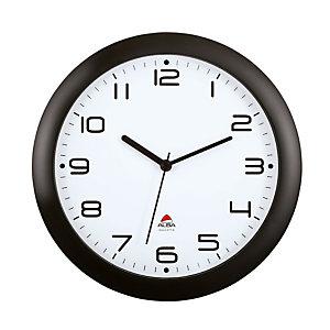 Alba Hornew Reloj analógico de pared, negro con fondo blanco
