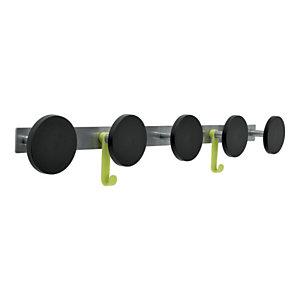 Alba Perchero de pared de metal y plástico ABS de 5 colgadores y 2 ganchos, gris y negro