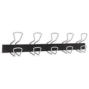 Alba Perchero de pared de metal y plástico ABS de 5 colgadores, gris y negro