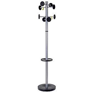 Alba Perchero de pie de acero y plástico ABS de 8 colgadores, gris y negro
