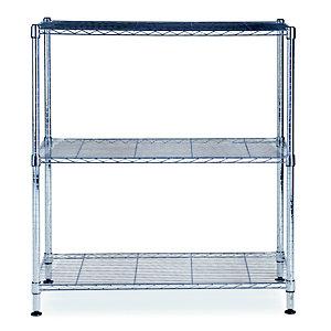 Alba Rayonnage de bureau en fil métal Stockolm 3 tablettes - H. 90 x L. 90 cm - Chromé