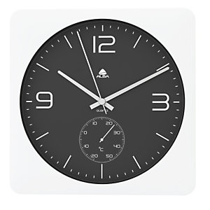 Alba Reloj de pared blanco con fondo negro