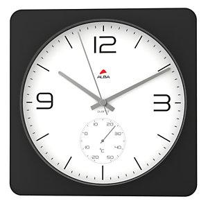Alba Reloj de pared negro con fondo blanco
