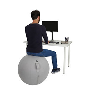 Alba Siège ballon ergonomique Ergo Ball, ballon PVC et housse en tissu 100% polyester, diamètre 65 cm - coloris Gris