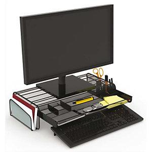 ALBA Support écran Mesh avec espace de rangement. Coloris Noir. Dim. L55 cm x largeur 25 + 2 x H12,5 cm