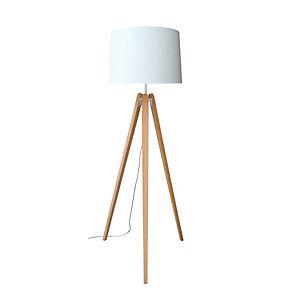 Aluminor Luminaires Lampadaire LED Essence, Puissance 40W, Culot E27, trépied bois, abat-jour ivoire