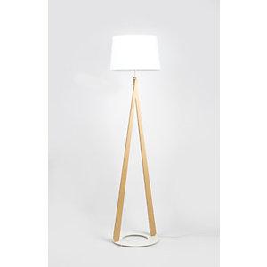 Aluminor Luminaires Lampadaire LED Zazou, Puissance 40W, Culot E27, pied hêtre, socle et abat-jour blancs