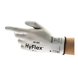 Ansell Guanto industriale multiuso in PU HyFlex® 48-100, Taglia 6, Bianco (confezione 12 paia)