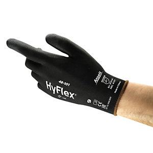 Ansell Guanto industriale multiuso in PU HyFlex® 48-101, Taglia 9, Nero (confezione 12 paia)