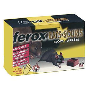 Antinuisible Ferox rats et souris, 12 blocs hydrofuges