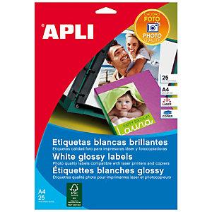 Apli (10065) Etiquetas glossy calidad fotográfica para impresora láser 199,6x289,1 mm.