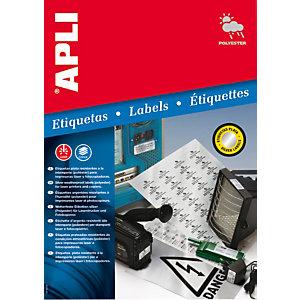 Apli 10070, Etiquetas multiuso, autoadhesivas permanentes, rectangulares, 63,5 x 29,6 mm, plata