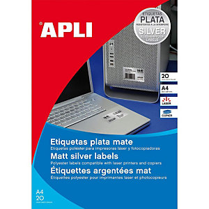 Apli 10071, Etiquetas multiuso, autoadhesivas permanentes, rectangulares, 210 x 297 mm, plata