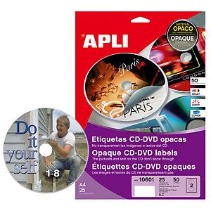 Apli (10601) Etiquetas cobertura total CDs/DVDs