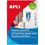 Apli (11682) Etiquetas laminadas de señalización cantos romos 84,5 x 54 mm. 6 etiquetas/hoja