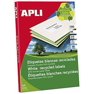 Apli (12070) Etiquetas multiuso cantos rectos recicladas 210 x 297 mm. 1 etiqueta/hoja