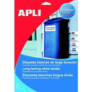Apli (1228) Etiquetas multiuso para impresora láser cantos rectos 210 x 297 mm. 1 etiqueta/hoja