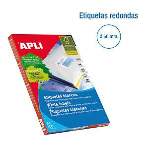 Apli (1244) Etiquetas multiuso redondas 60 mm de diametro. 12 etiquetas/hoja