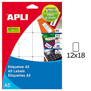 Apli (1860) Etiquetas manuales escribe e imprime 12 x 18 mm. - 110 etiqueta/hoja