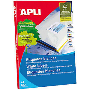 Apli 2415, Etiquetas multiuso, autoadhesivas permanentes, redondeadas, 63,5 x 46,6 mm, blanco