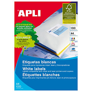 Apli (2530) Etiquetas para impresora láser cantos rectos 210 x 297 mm. 1 etiqueta/hoja