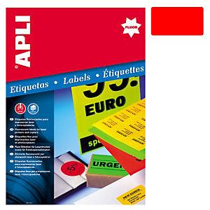 Apli (2876) Etiquetas fluorescentes 99,1 x 67,7 mm. rojo