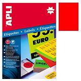 Apli (2880) Etiquetas fluorescentes 210 x 297 mm. rojo