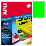 Apli (2881) Etiquetas fluorescentes 210 x 297mm. verde