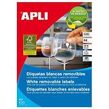 Apli (3054) Etiquetas removibles cantos rectos 48,5 x 25,4 mm. 44 etiquetas/hoja