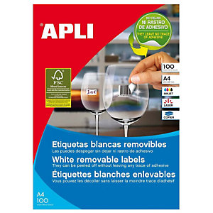 Apli (3056) Etiquetas removibles cantos rectos 64,6 x 33,8 mm. 24 etiquetas/hoja