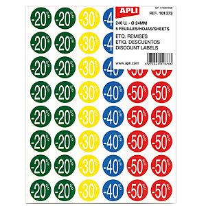Apli Etiquetas adhesivas de descuentos: 20, 30, 40 y 50%