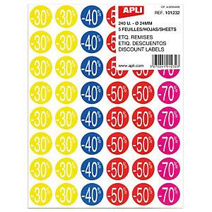 Apli Etiquetas adhesivas de descuentos: 30, 40, 50 y 70%