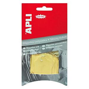 Apli Etiquetas colgantes para productos, 22 x 35 mm, escritura manual, amarillo pastel