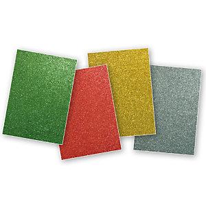 Apli Goma EVA con purpurina A4 - verde, rojo, oro, plata
