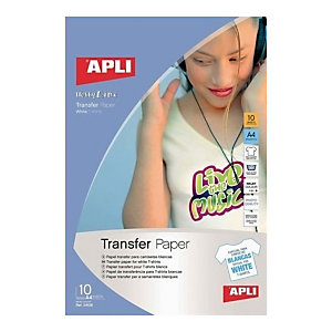 Apli Papel Transfer, A4, soporte claro, 10 hojas